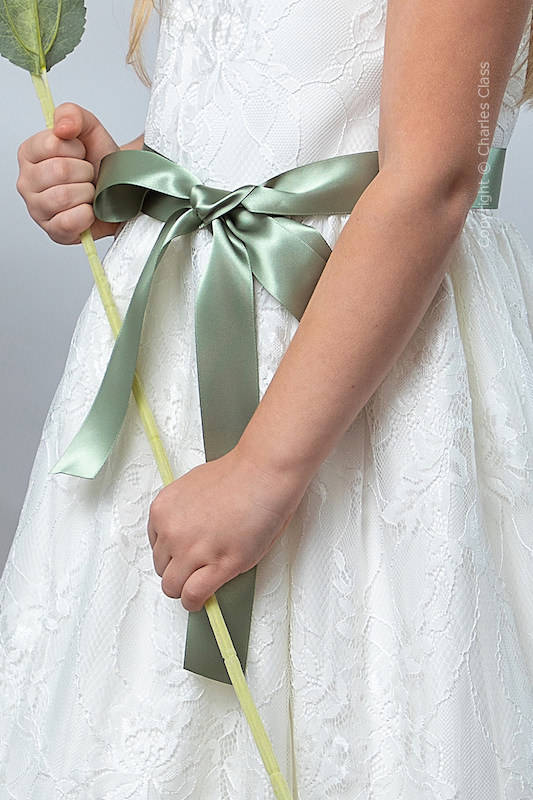 Sage Green Premium Satin Flower Girl Sash