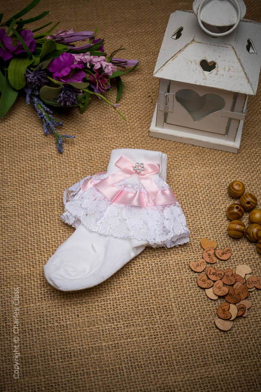 Girls White & Pink Diamante Bow Lace Ankle Socks