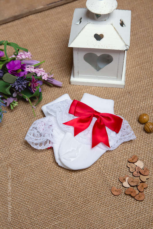 Girls White & Red Large Bow Full Lace Ankle Socks