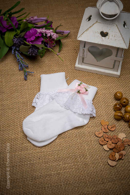 Girls White Lace Ankle Socks with Baby Pink Flower Cluster