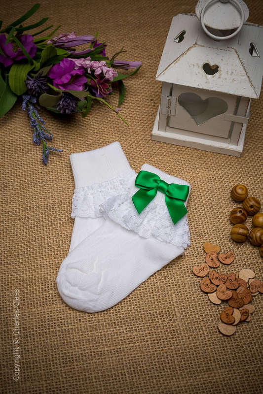 Girls White Lace Ankle Socks with Emerald Green Bows