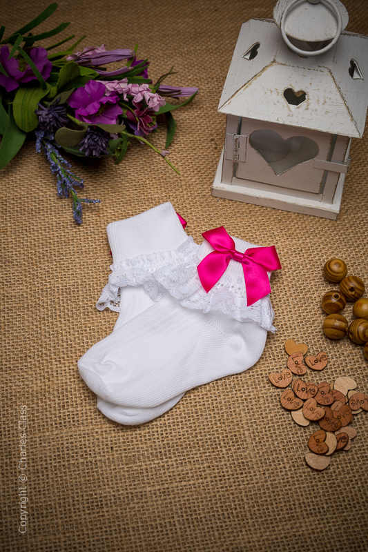 Girls White Lace Cotton Ankle Socks with Hot Pink Bows
