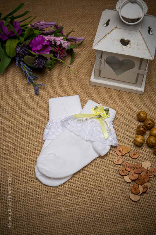 Girls White Lace Ankle Socks with Lemon Flower Cluster