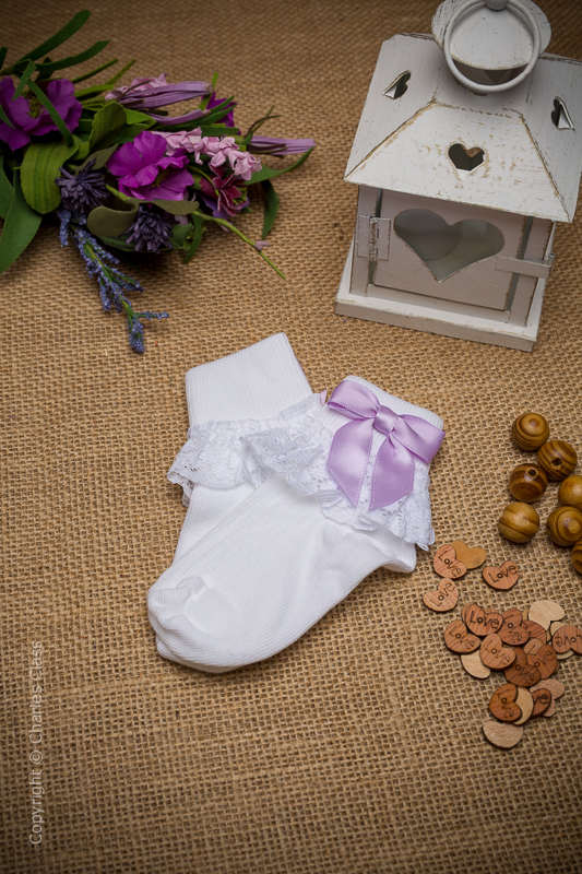 Girls White Lace Cotton Ankle Socks with Lilac Bows