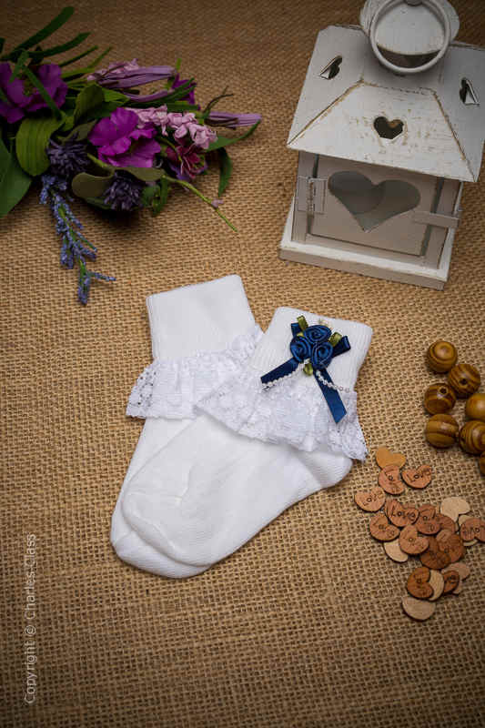 Girls White Lace Ankle Socks with Navy Flower Cluster