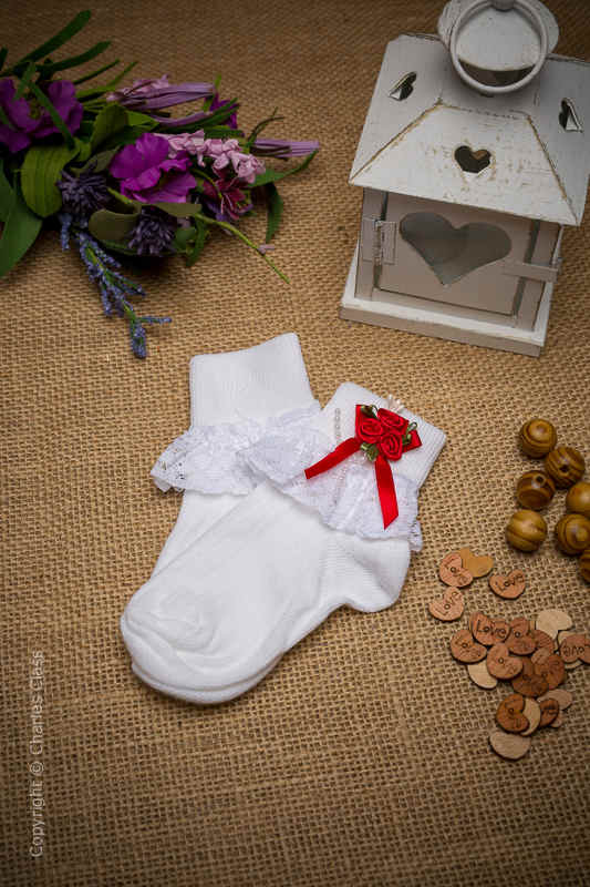 Girls White Lace Ankle Socks with Red Flower Cluster