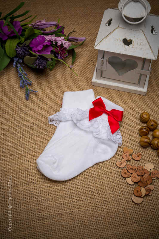 Girls White Lace Cotton Ankle Socks with Red Bows
