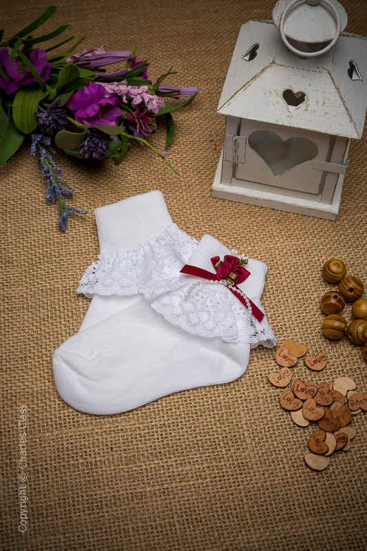 Girls White Lace Ankle Socks with Wine Flower Cluster