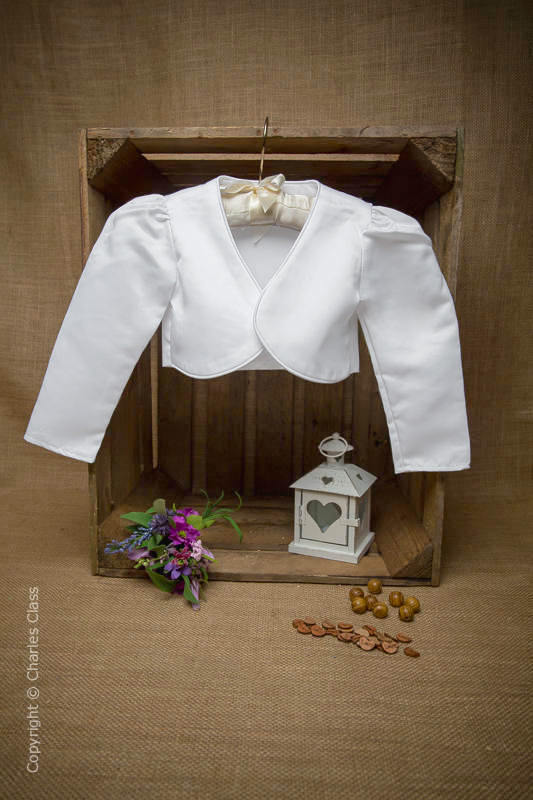 Girls White Satin Long Sleeve Bolero Jacket