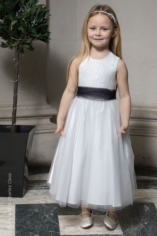 Girls White Embroidered Dress with Black Organza Sash - Olivia