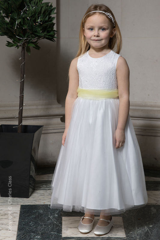 Girls White Embroidered Dress with Lemon Organza Sash - Olivia