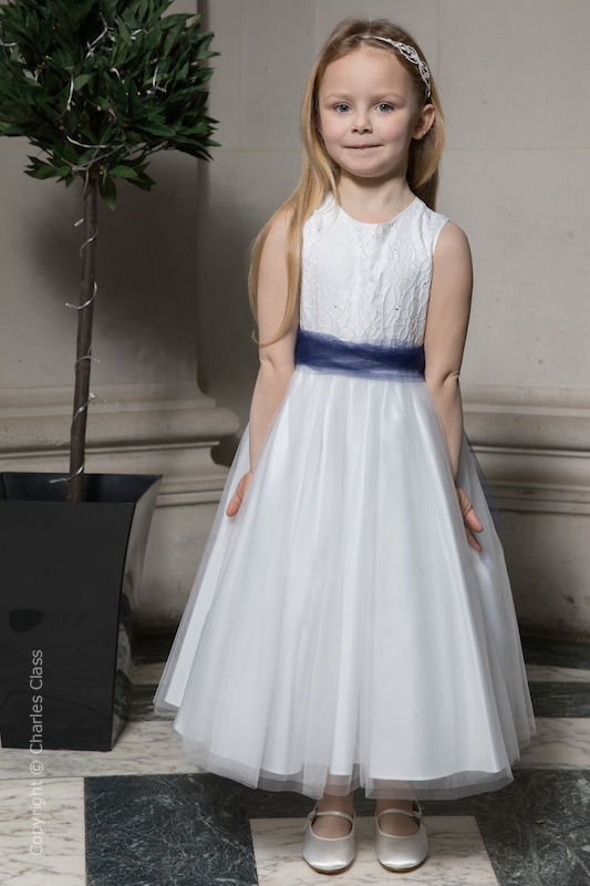 Girls White Embroidered Dress with Navy Organza Sash - Olivia