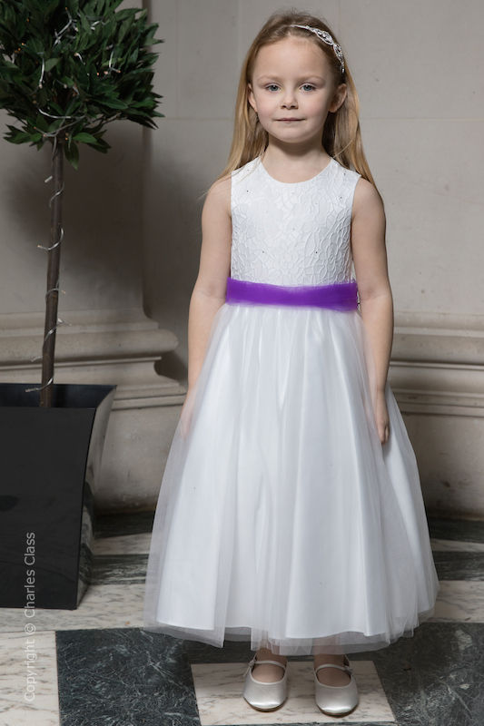 Girls White Embroidered Dress with Purple Organza Sash - Olivia