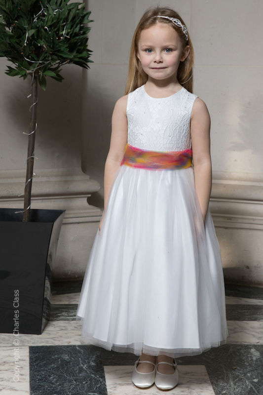Girls White Embroidered Dress with Rainbow Organza Sash - Olivia