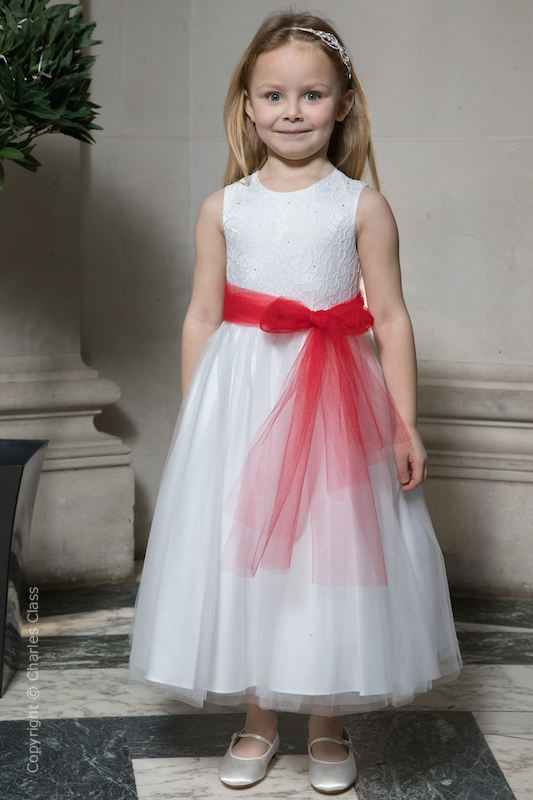 Girls White Embroidered Dress with Red Organza Sash - Olivia