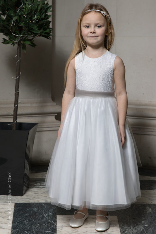 Girls White Embroidered Dress with Silver Organza Sash - Olivia