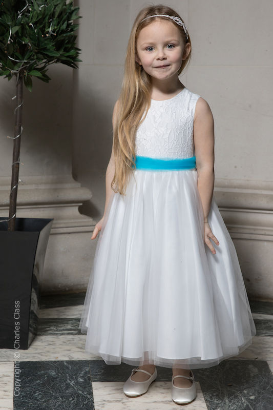 Girls White Embroidered Dress with Turquoise Organza Sash - Olivia