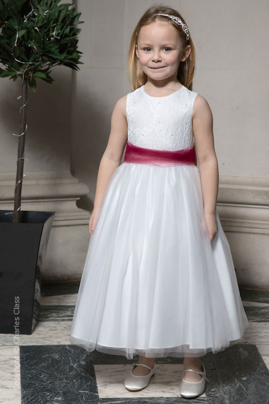 Girls White Embroidered Dress with Wine Organza Sash - Olivia