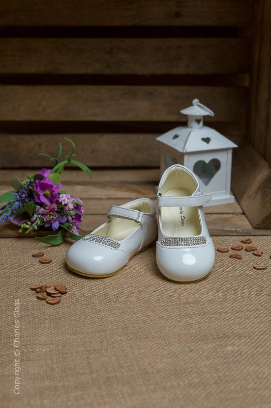 Girls White Princess Diamante Patent Leather Shoes