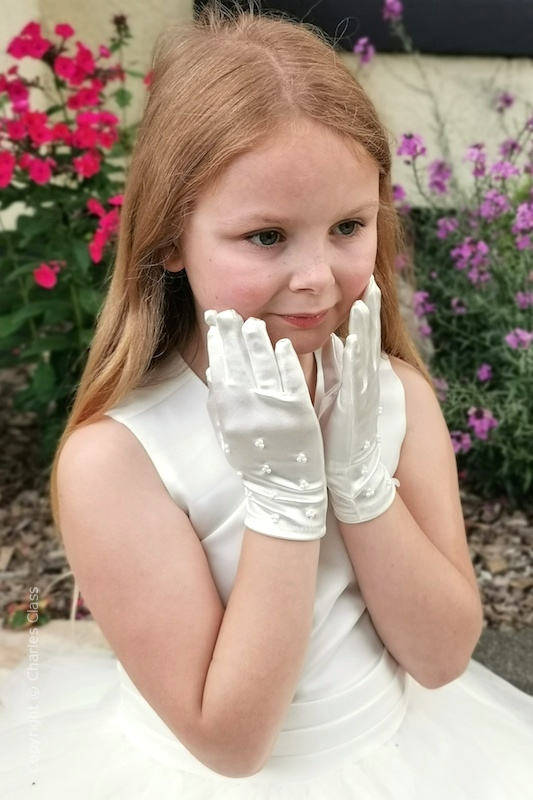 Girls Ivory Wrist Length Beaded Satin Wedding Gloves