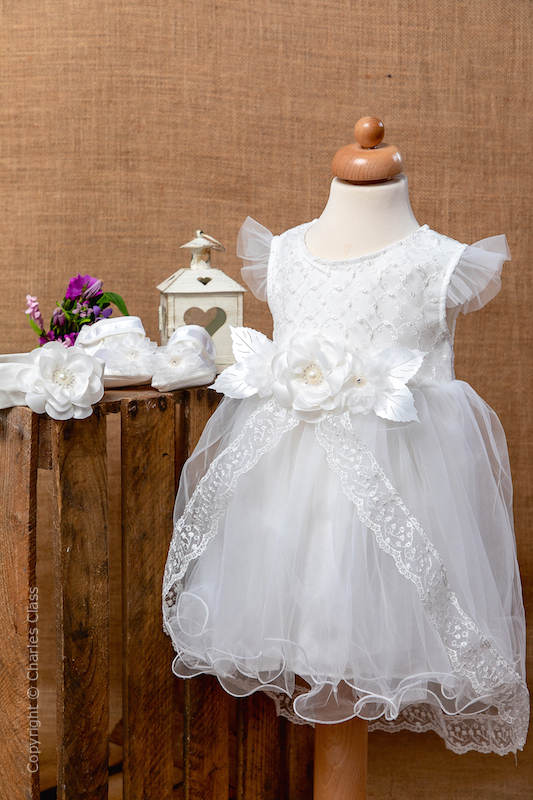 Ivory Floral Lace Tulle Flower Girl Dress Set