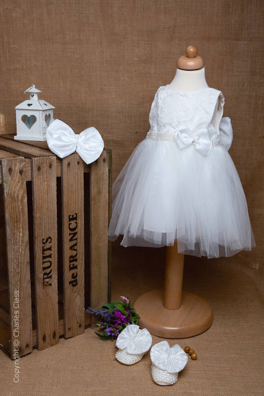 Ivory Large Bow Tulle Flower Girl Dress Set