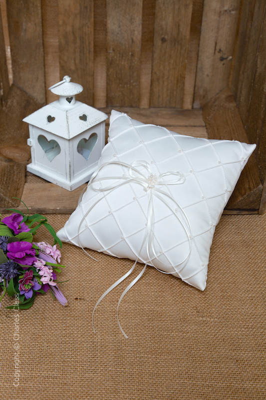 Ivory Quilted Duchess Satin Ring Bearer Wedding Pillow