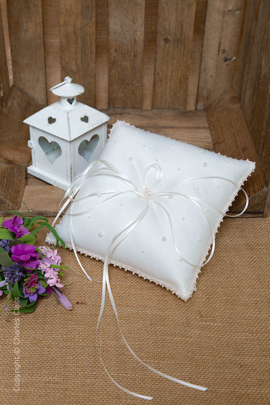 Ivory Faux Pearl Duchess Satin Ring Bearer Wedding Pillow