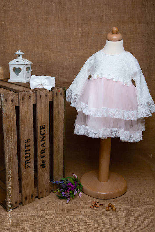 Pink Diamante Bow Lace Flower Girl Dress with Headband