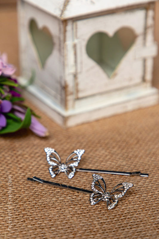 Sparkly Crystal Silver Butterfly Hair Slide - Pack of 2