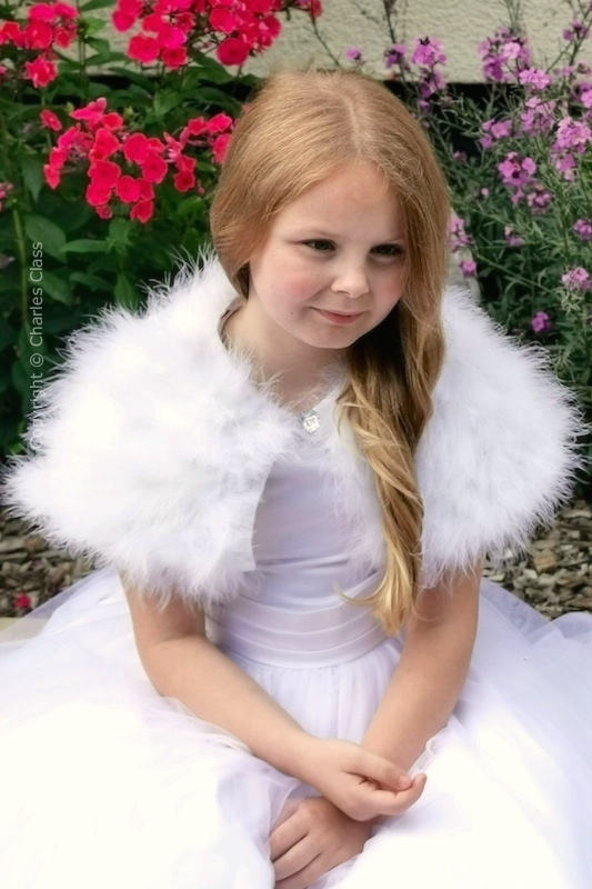 Peridot Girls White Marabou Feather Shrug - Style Isabella
