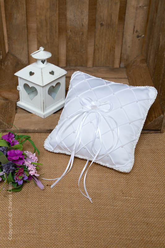 White Quilted Duchess Satin Ring Bearer Wedding Pillow