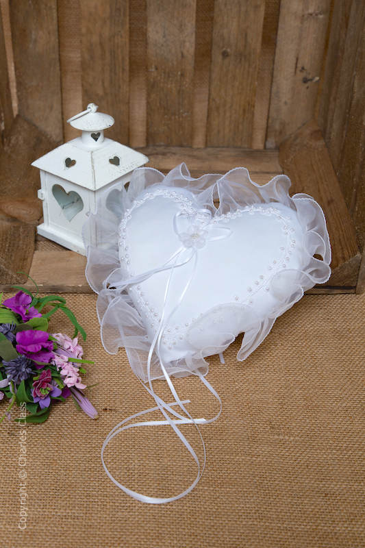 White Pearl Duchess Satin Ring Bearer Heart Cushion