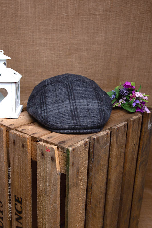 Younger Boys Grey Herringbone Tweed Check Flat Cap