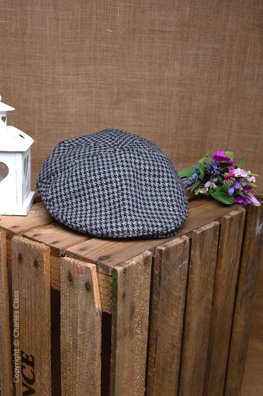 Younger Boys Grey Wool Blend Check Flat Cap