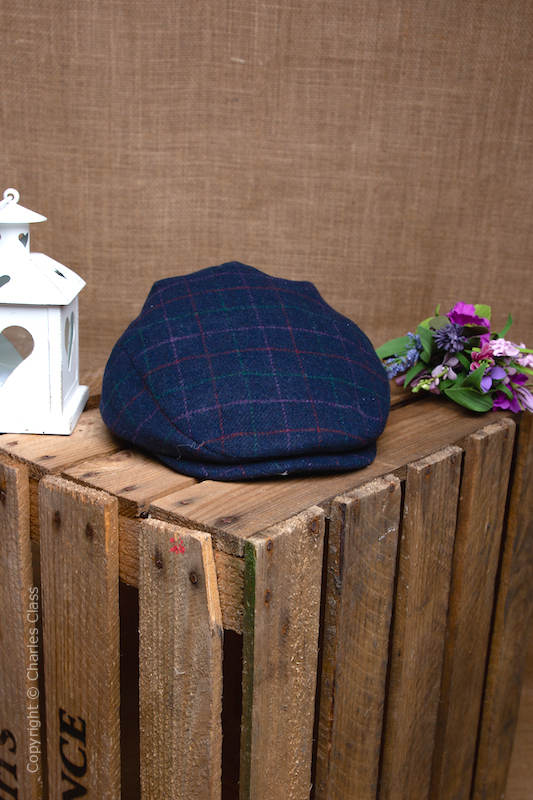 Younger Boys Navy Tweed Wool Check Flat Cap