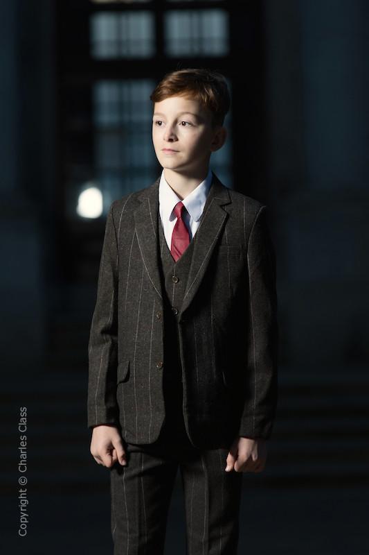 01db7a3e195 Boys Brown Tweed Check Jacket Suit - Hubert
