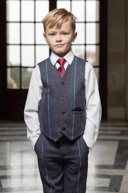 6c710b8cf13 Boys Navy Tweed Check Waistcoat Suit - Carter