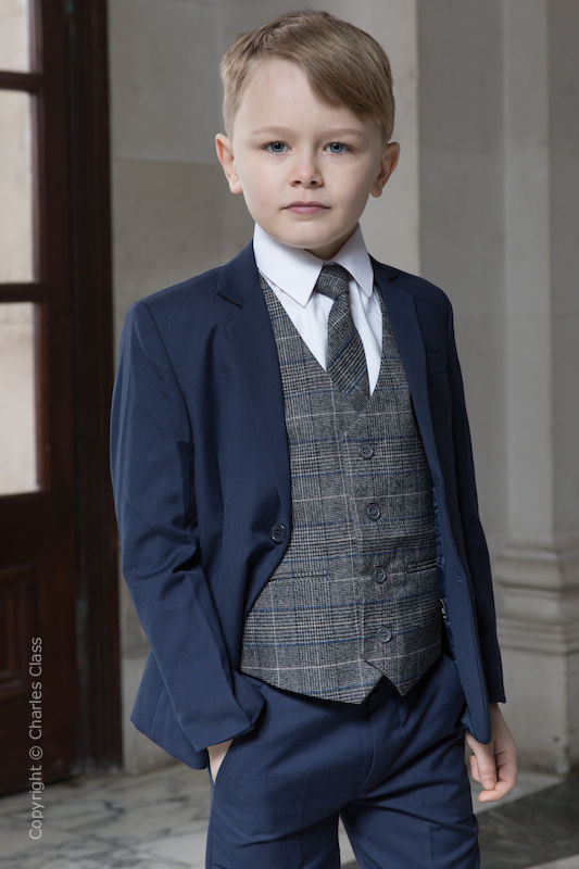 7ecc200d403081 Boys Navy Suit with Blue Check Tweed Waistcoat - Ashby