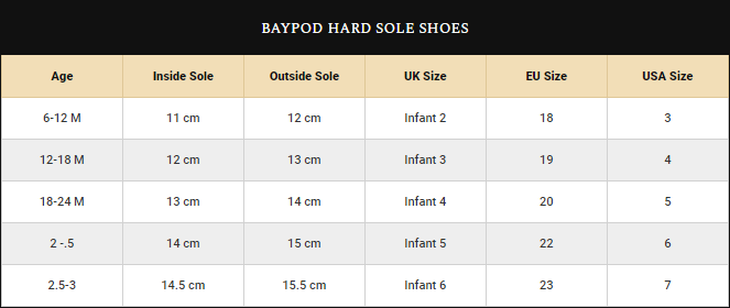 Boys Baypod Shoes Size Guide