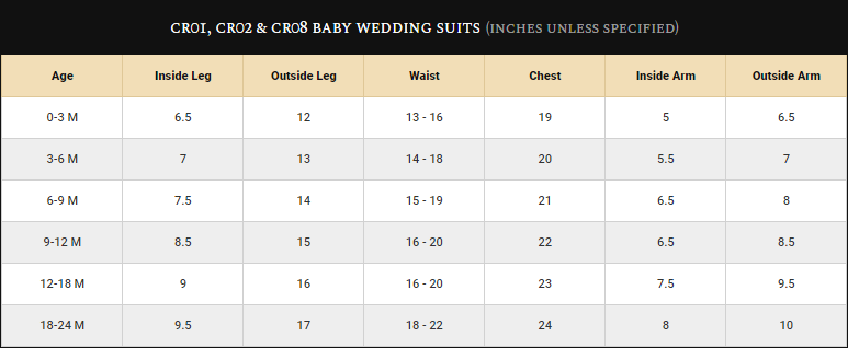 Baby Boys Wedding Suits Size Guide