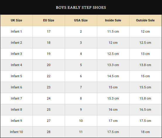 Boys Shoes Size Guide