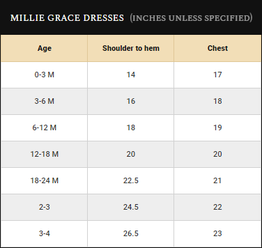 Millie Grace Size Guide