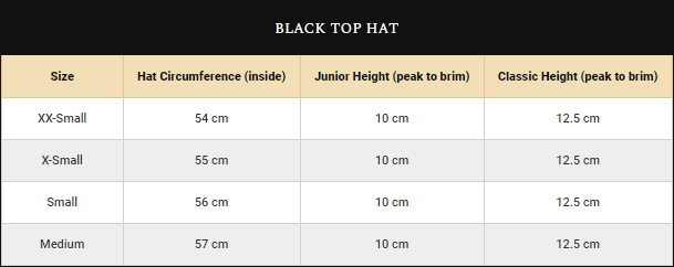 Boys Black Top Hats Size Guide